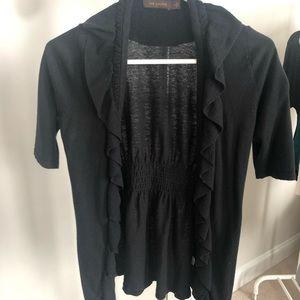The Limited black ruffle cardigan